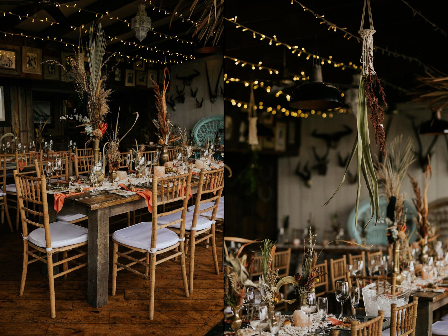 Boho inspired wedding decor of rustic wooden chairs, woven macrame table runners, feather and dried flower arrangements, skull table numbers and gemstones