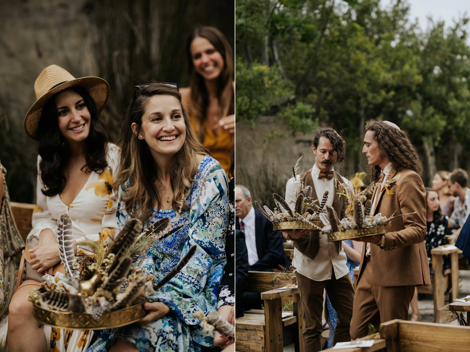Untraditional sacred sage smudging ceremony at boho gypsy wedding