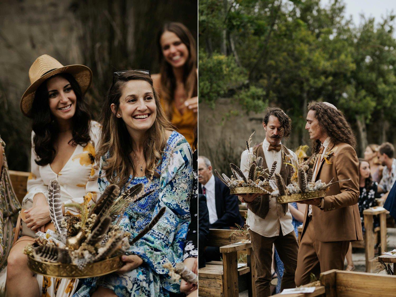 Untraditional sacred sage smudging ceremony at boho gypsy wedding