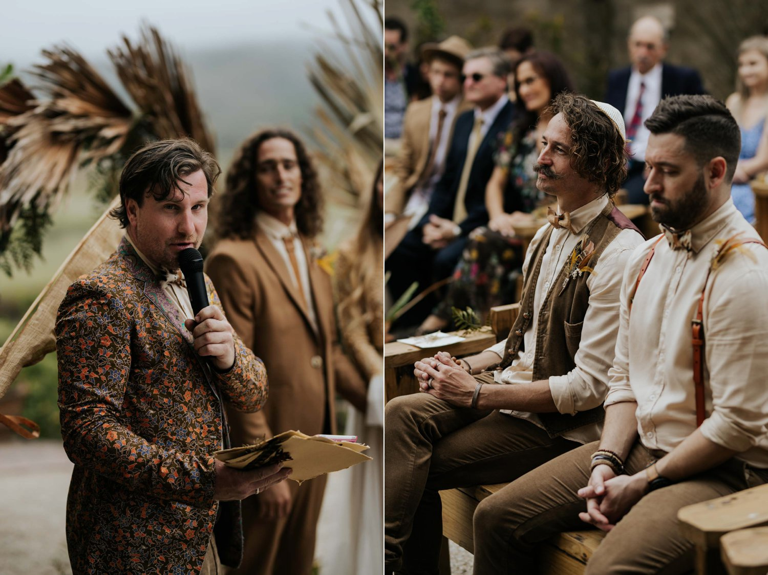 Boho wedding ceremony at Emily Moon River Lodge in Plett
