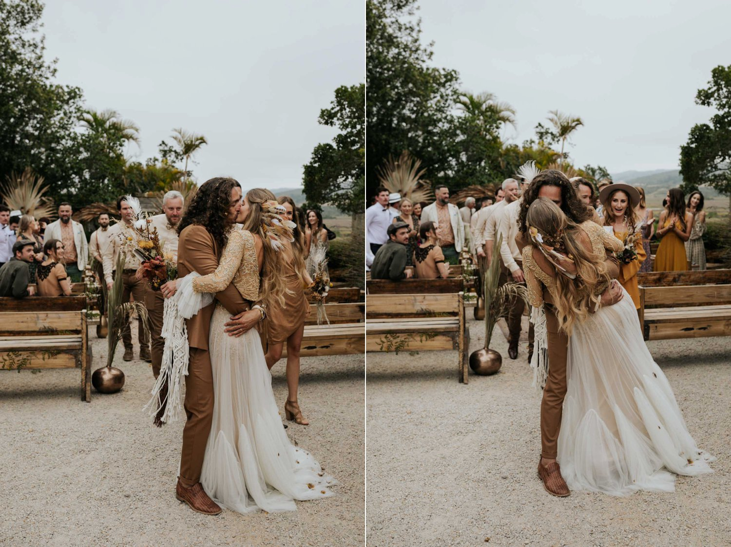 Newlyweds kiss after joyful and fun wedding confetti toss with dried flowers and feather at bohemian wedding at Emily Moon River Lodge in Plett