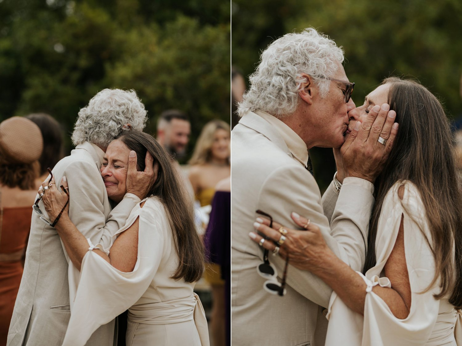 Emotional and moving wedding moments greeting guests and parents after ceremony