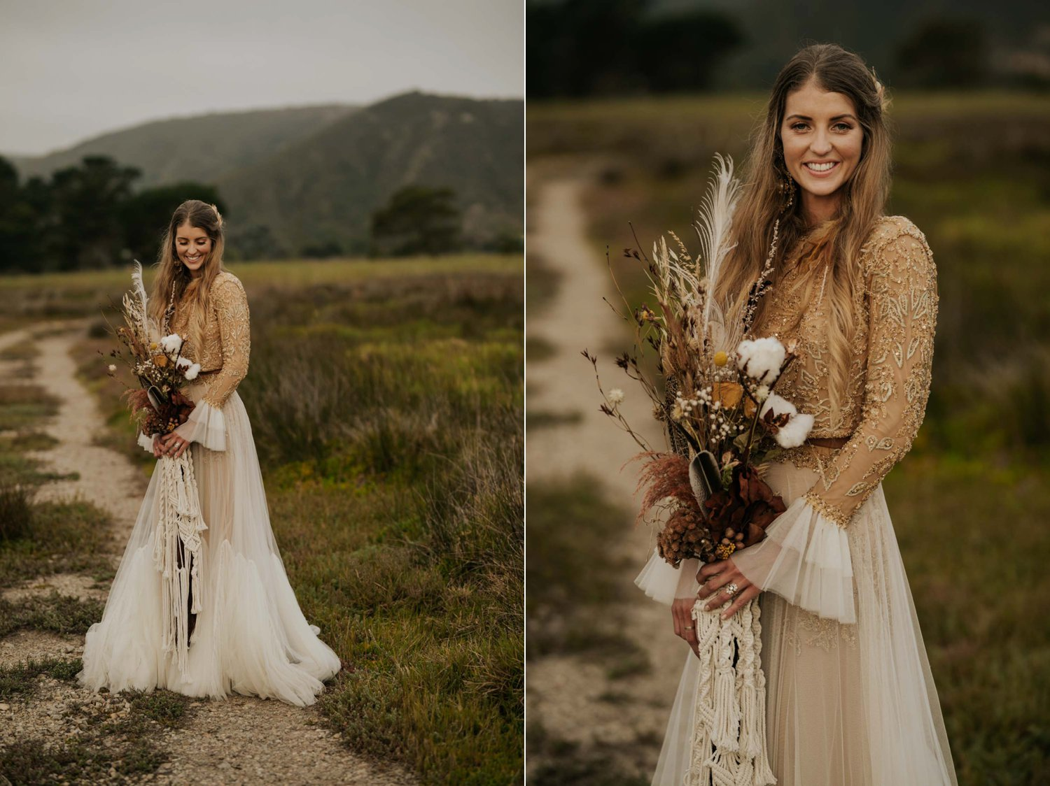 Beautiful boho bride wears feather ear cuff, hair piece and a wedding dress with flared long sleeves, sheer skirt and gold detailed top holds dried flower and feather macrame bouquet in a open field