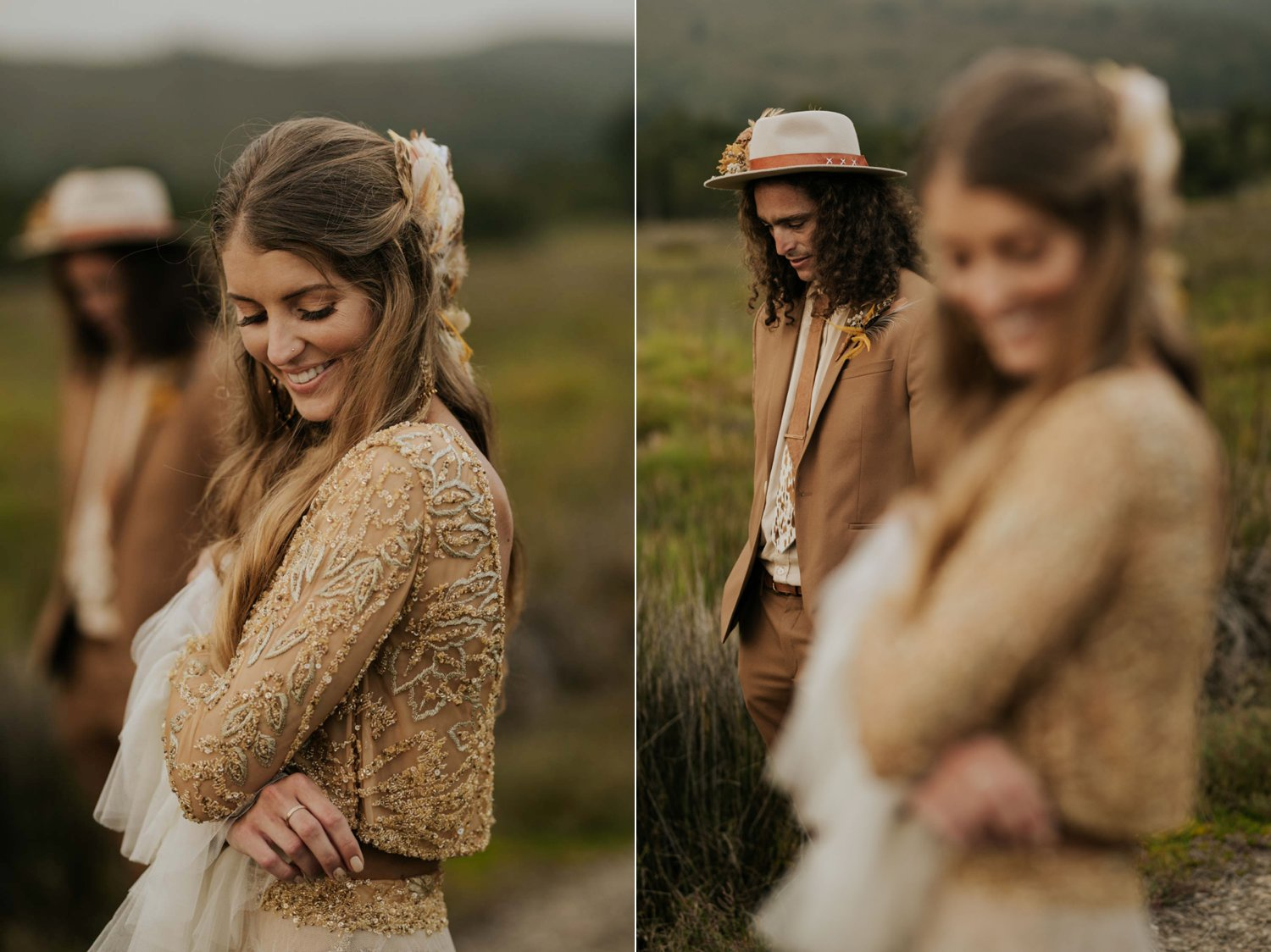 Beautiful boho bride wears feather ear cuff, hair piece and a wedding dress with flared long sleeves, sheer skirt and gold detailed in a open field with handsome alternative groom
