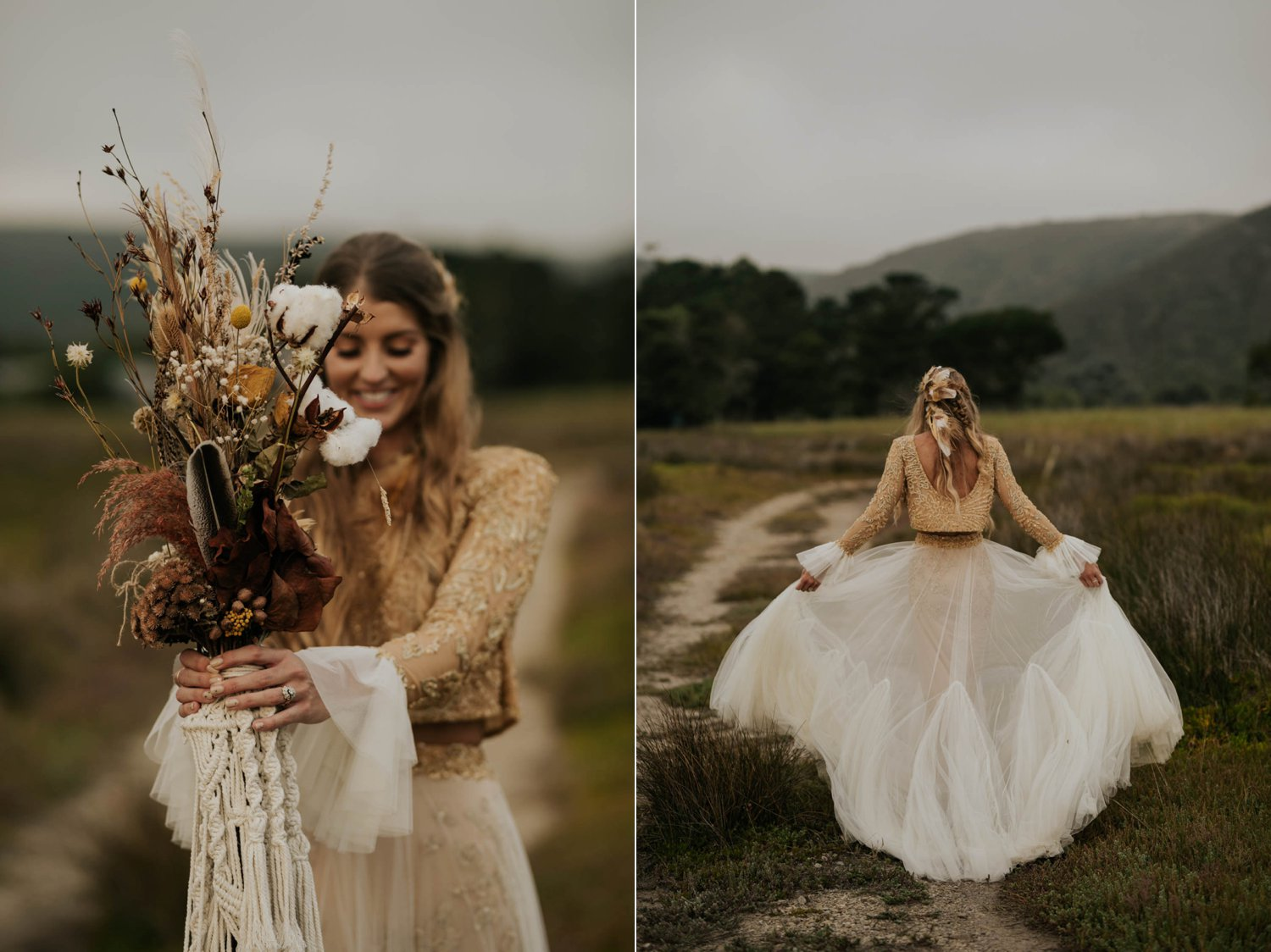 Beautiful boho bride wears feather ear cuff, hair piece and a wedding dress with flared long sleeves, sheer skirt and gold detailed top holds dried flower and feather macrame bouquet in a open field at Emily Moon