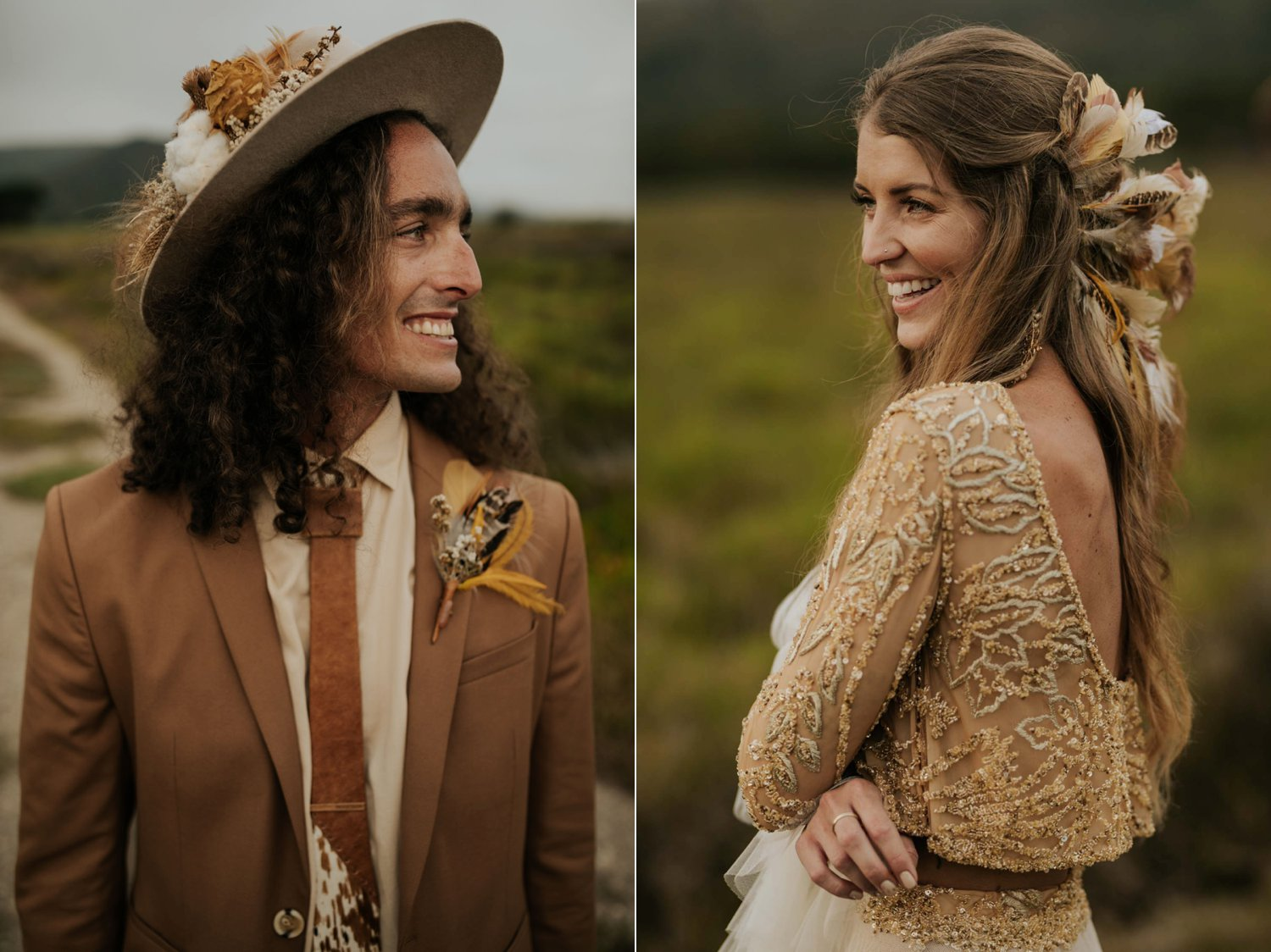 Long curly hair groom wears brown suite, beige shirt, brown Nguni cowhide tie, felt hat and foraged dried flowers and feather boutineer