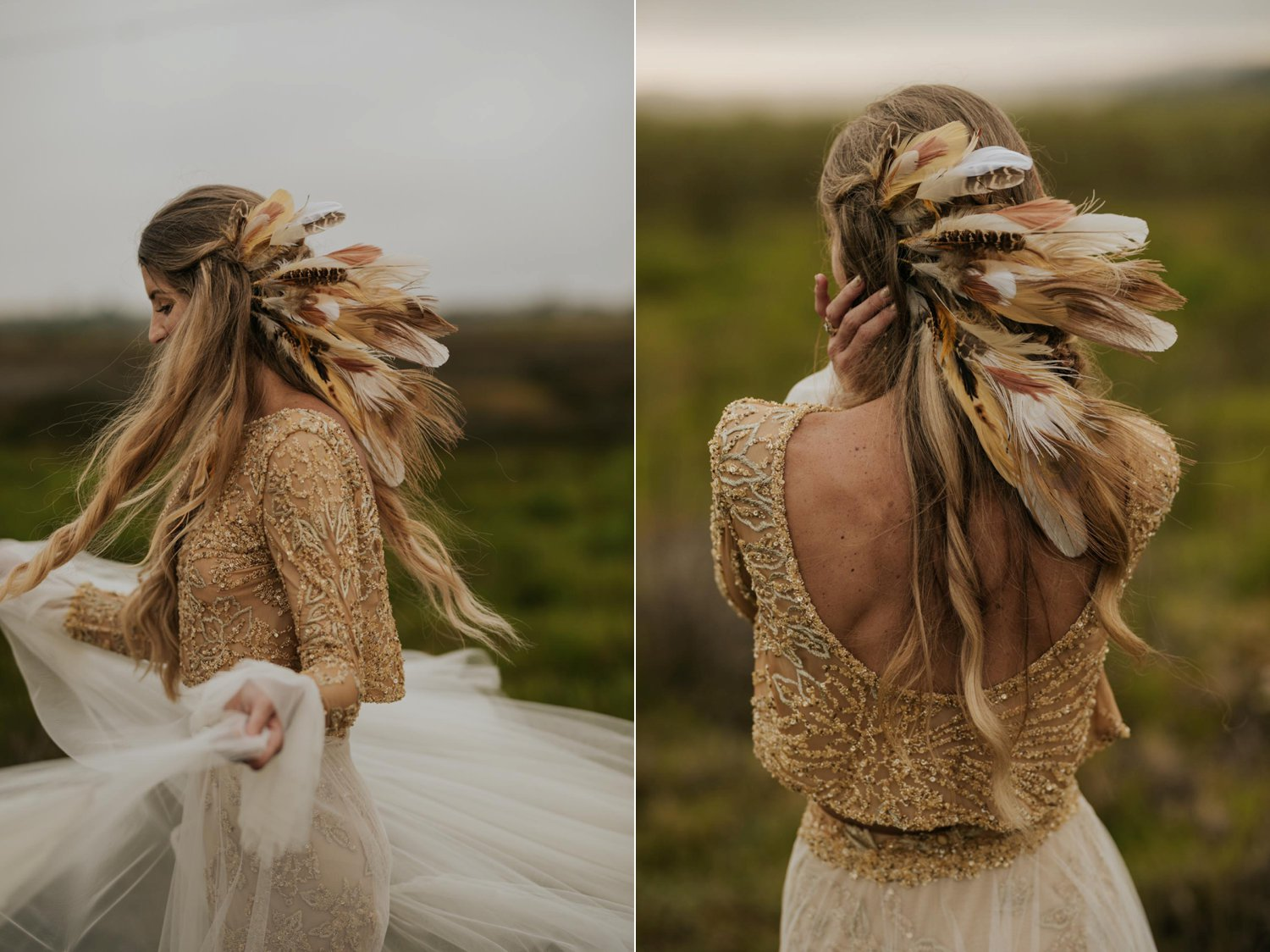Boho bride wears feather ear cuff and hair piece and a wedding dress with flared long sleeves, sheer skirt and gold detailed top spins in field