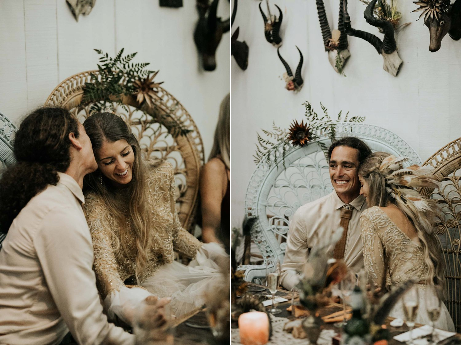 Bride and groom laugh and cry sitting in Bali Boho Wicker Peacock Chairs during wedding speech