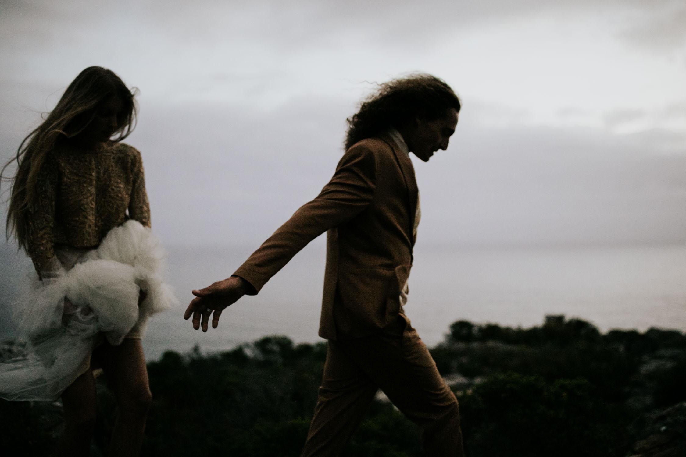 After dark navy hour dark and moody and emotive wedding photo