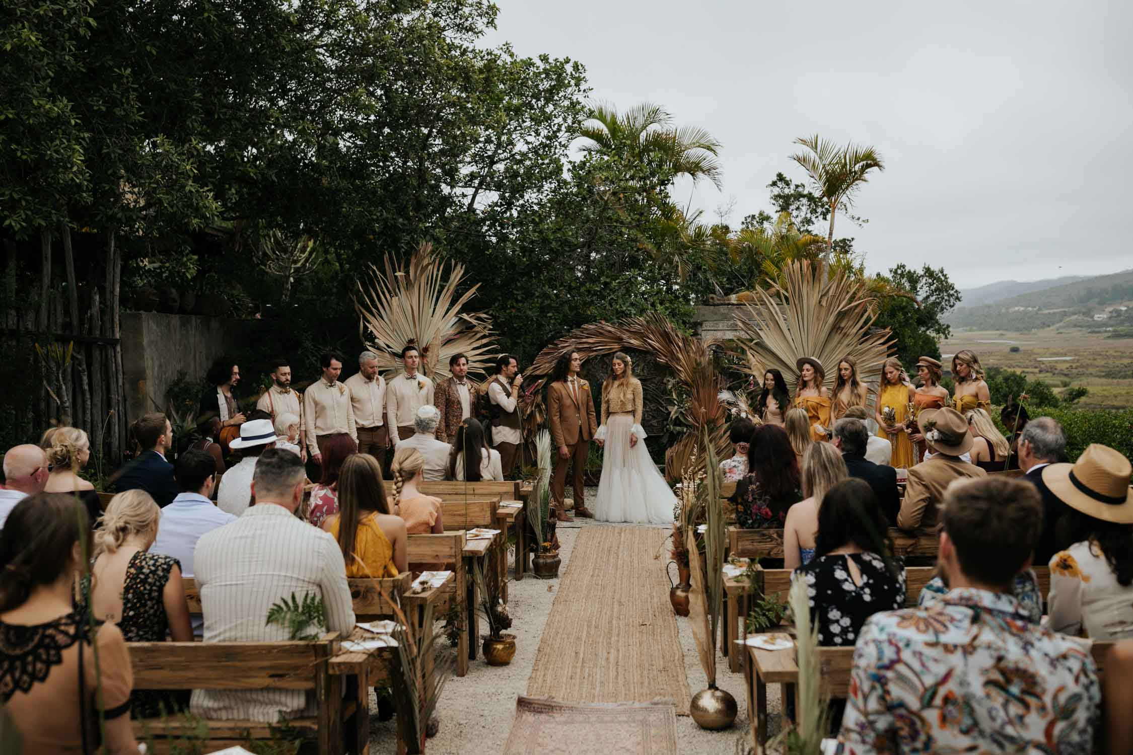 Wedding ceremony inspiration for outdoor boho gypsy wedding ceremony