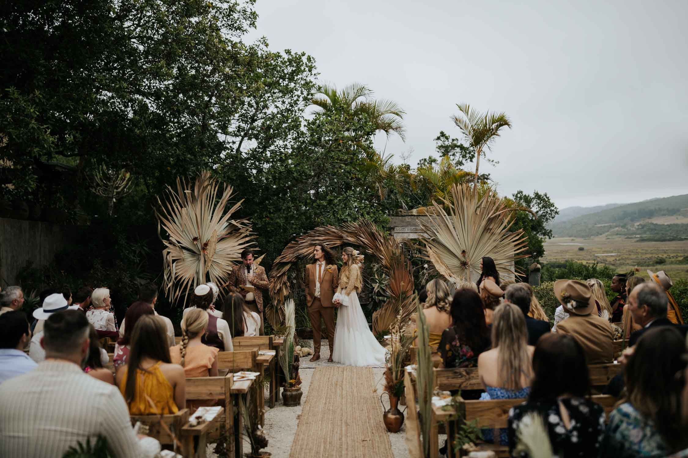 Wedding ceremony inspiration for outdoor boho gypsy wedding ceremony