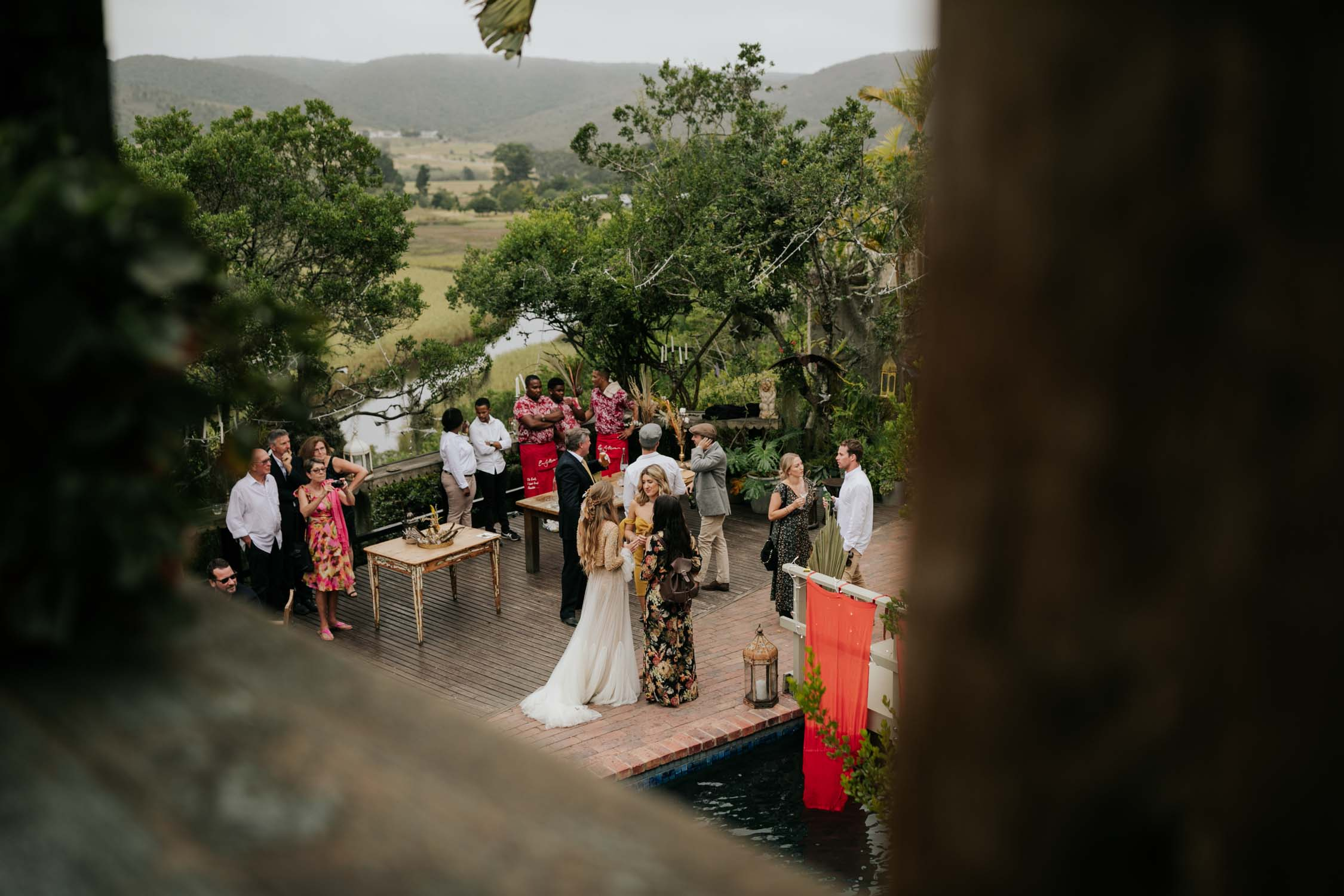 Pictures of guests taken by candid and photojournalistic wedding photographer at Emily Moon River Lodge wedding in Plett, Garden Route, South Africa