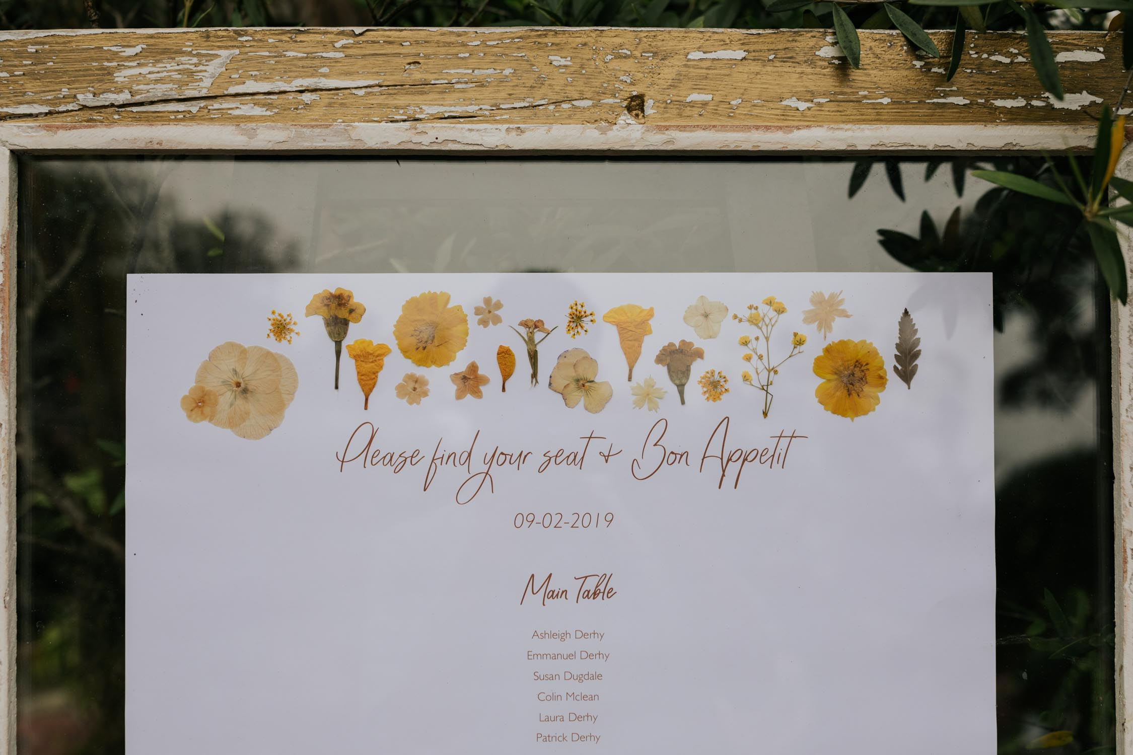 Idea for table seating chart for boho wedding