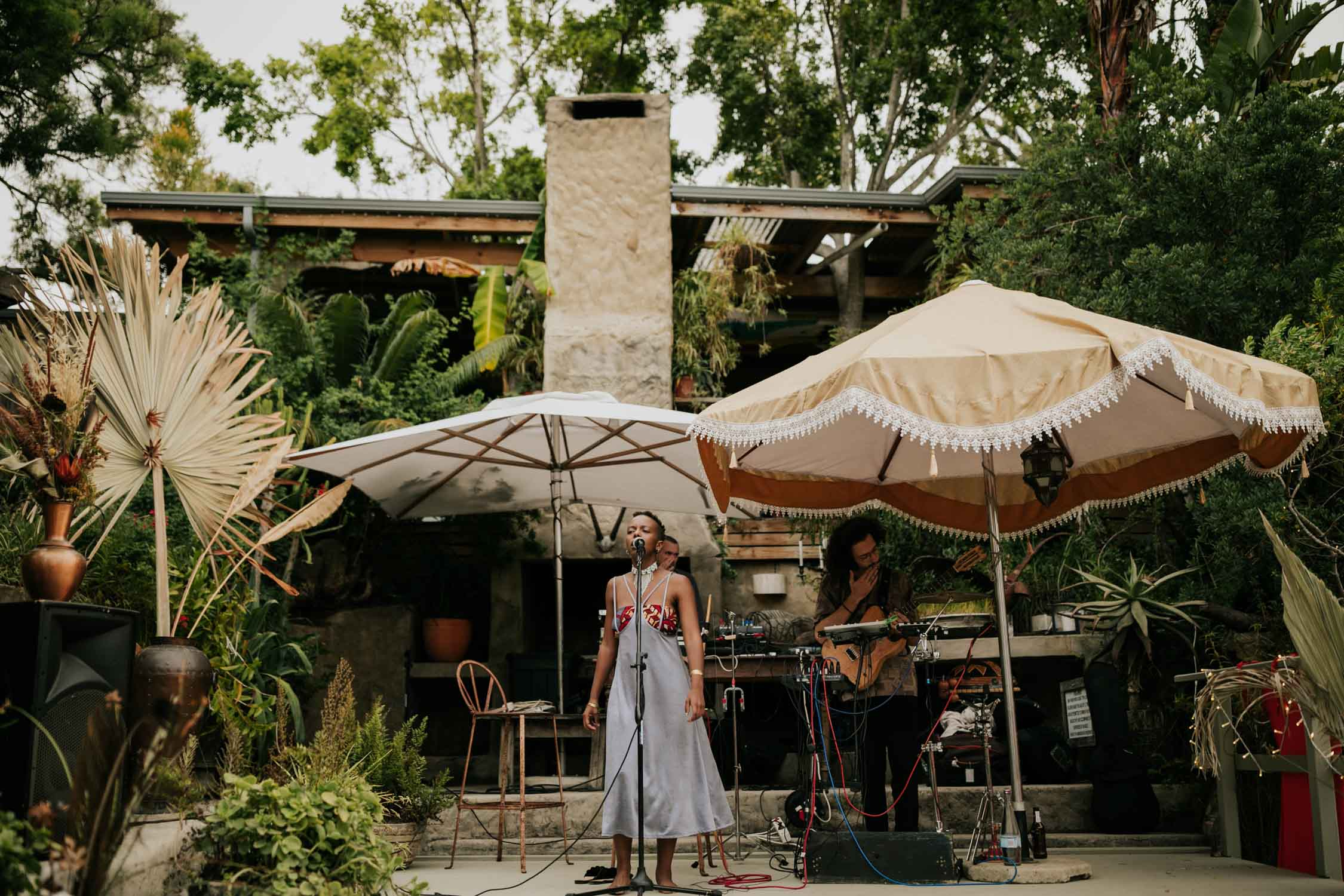 Boho gypsy band at Emily Moon River Lodge wedding in Plett, Garden Route, South Africa