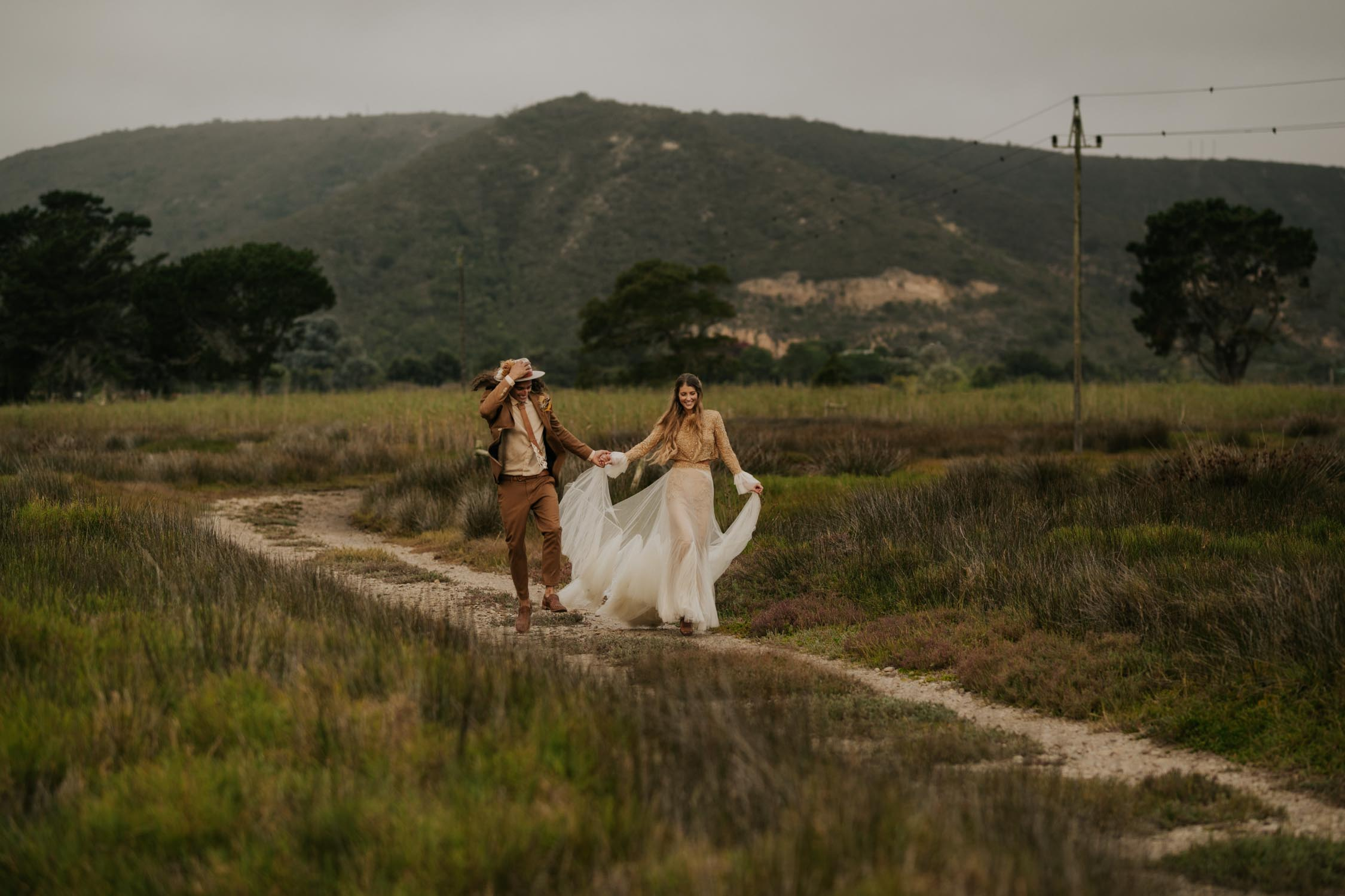 Incredible wedding photo of boho bride and groom at Emily Moon River Lodge, Plettenberg Bay Venue