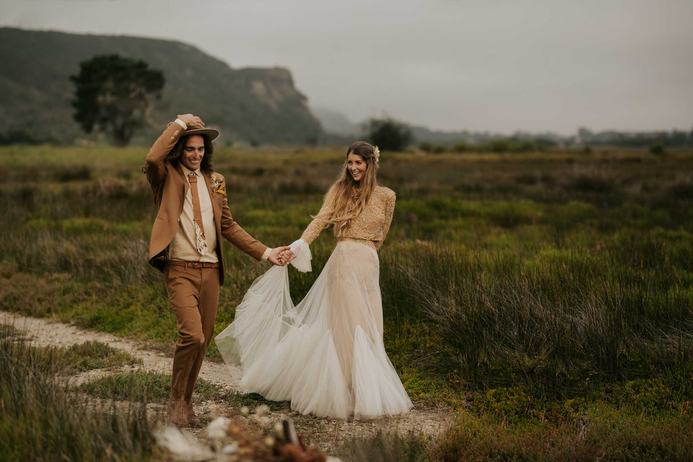 Photojournalistic Vancouver Wedding Photographer takes amazing romantic photo of boho bride and groom