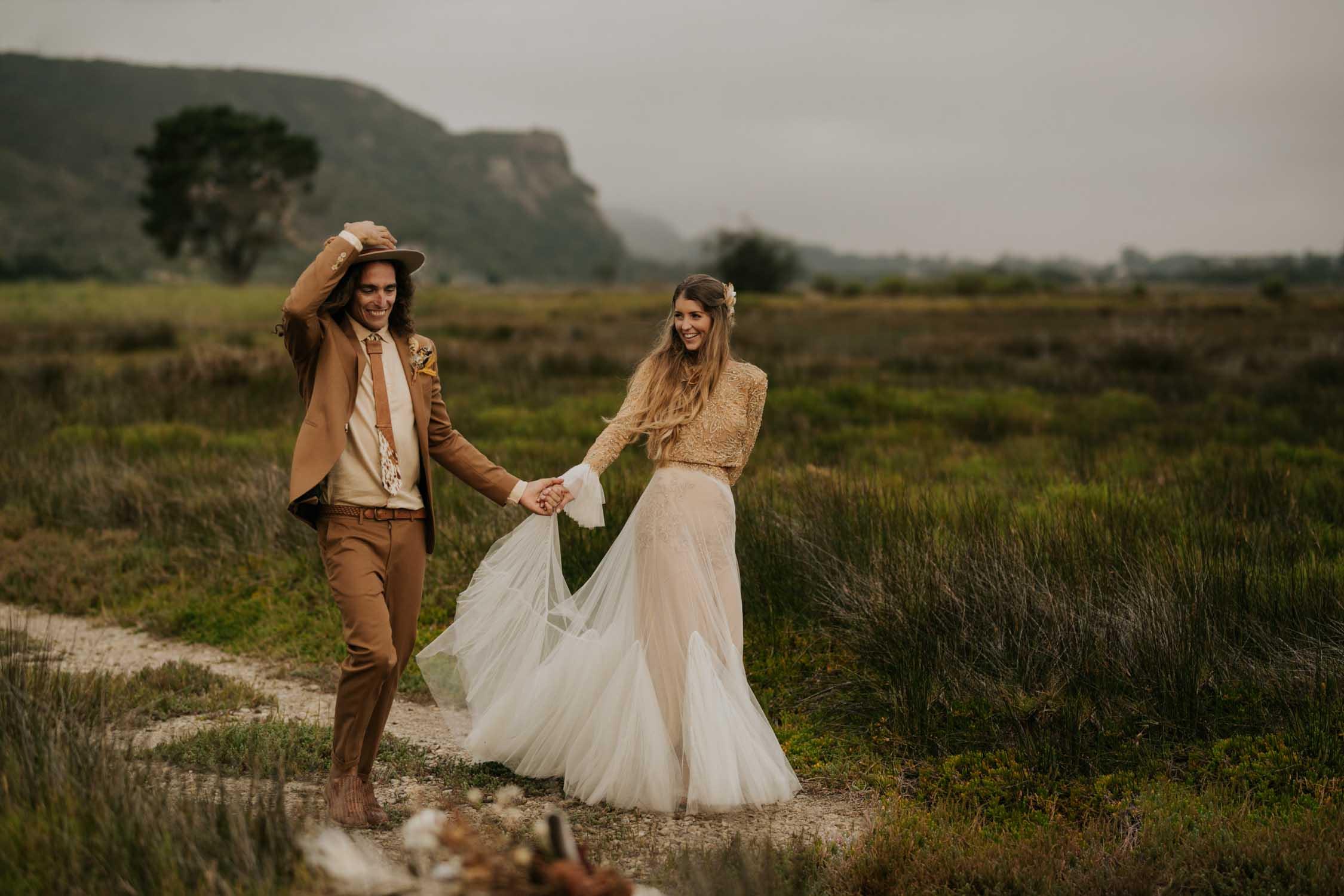 Photojournalistic Vancouver Wedding Photographer takes amazing romantic photo of boho bride and groom