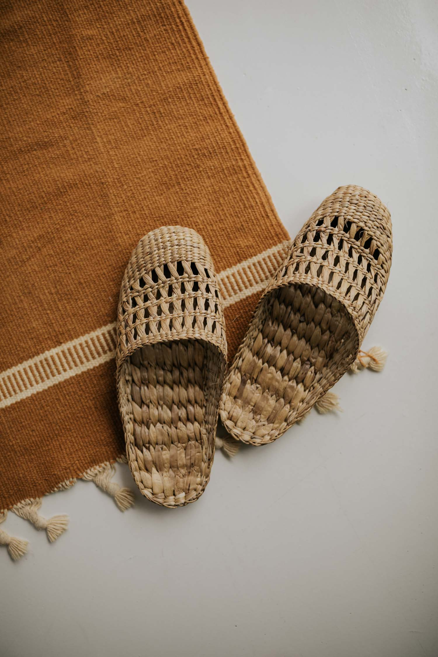Woven grass boho slippers from Bali