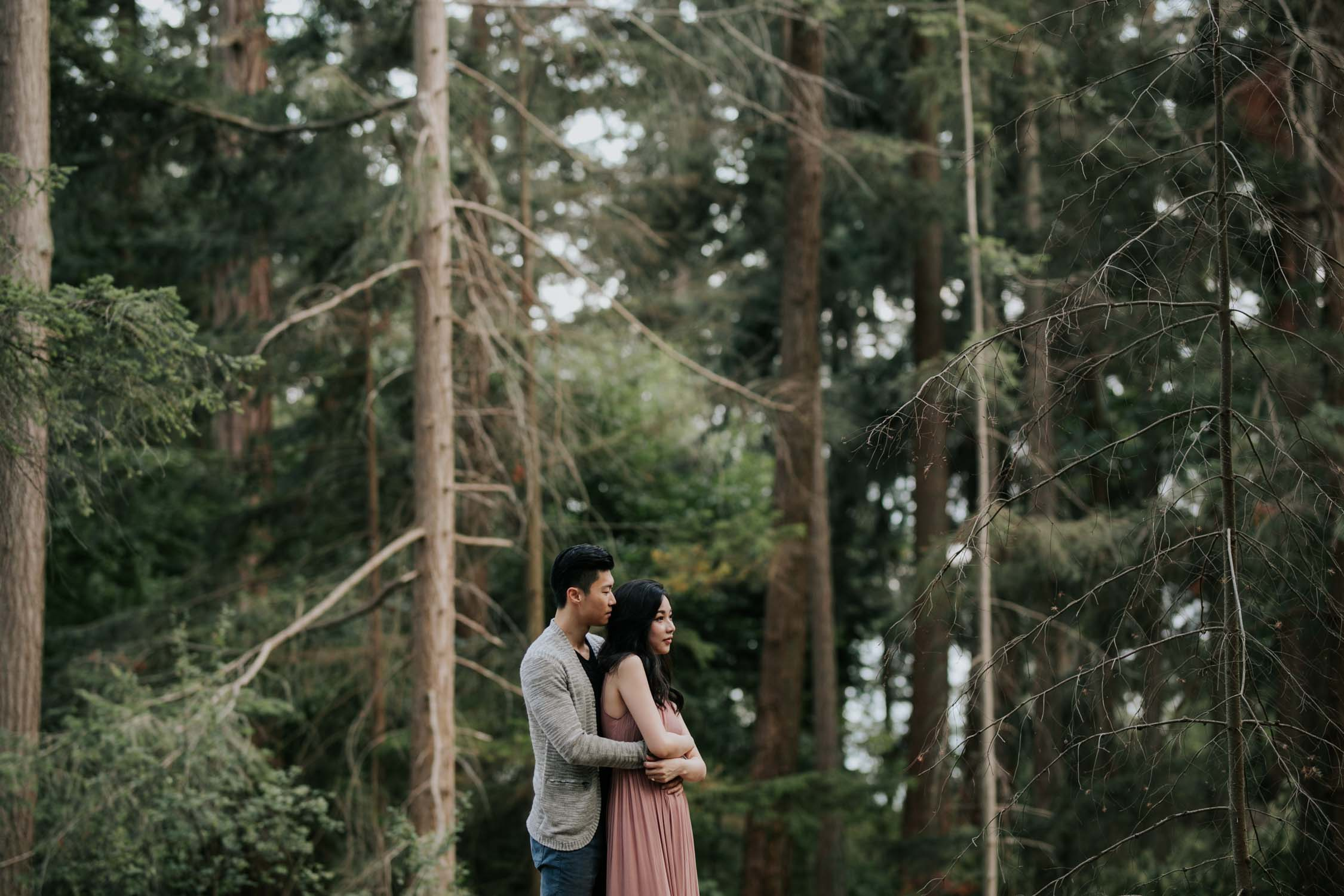 Engaged couple embrace in Douglas Fir forest, West Vancouver