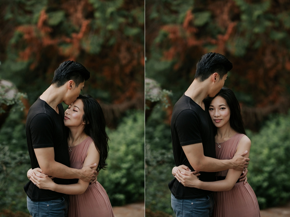 Romantic summer engagement shoot in Lighthouse Park, Vancouver