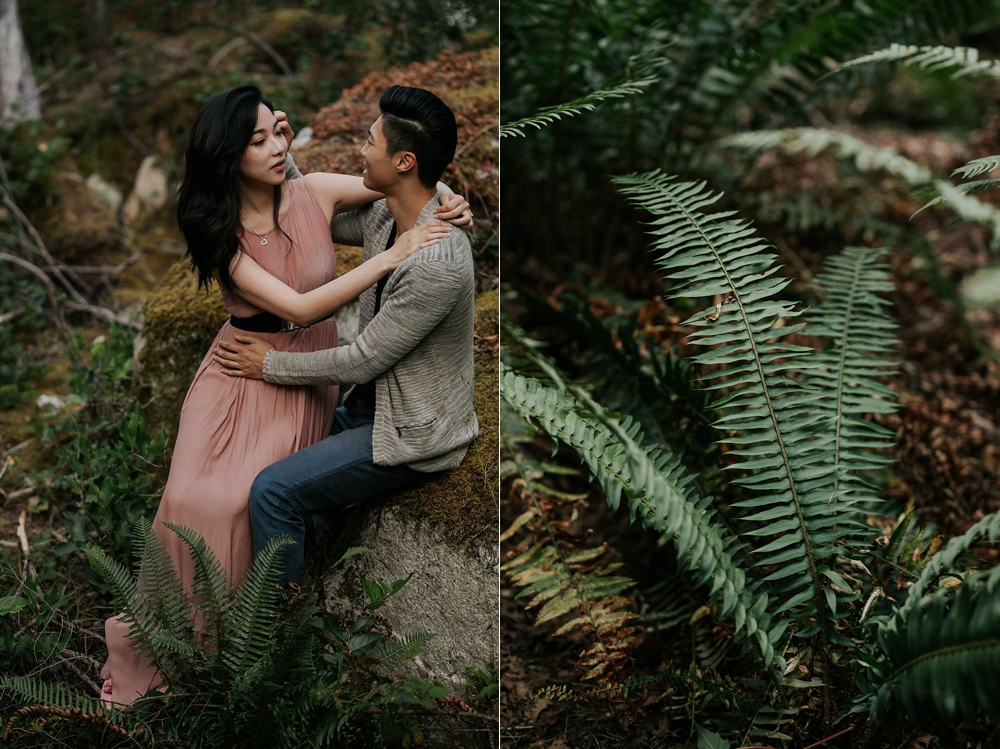 Romantic candid photo of groom moving hair off his bride's face in beautiful Vancouver forest