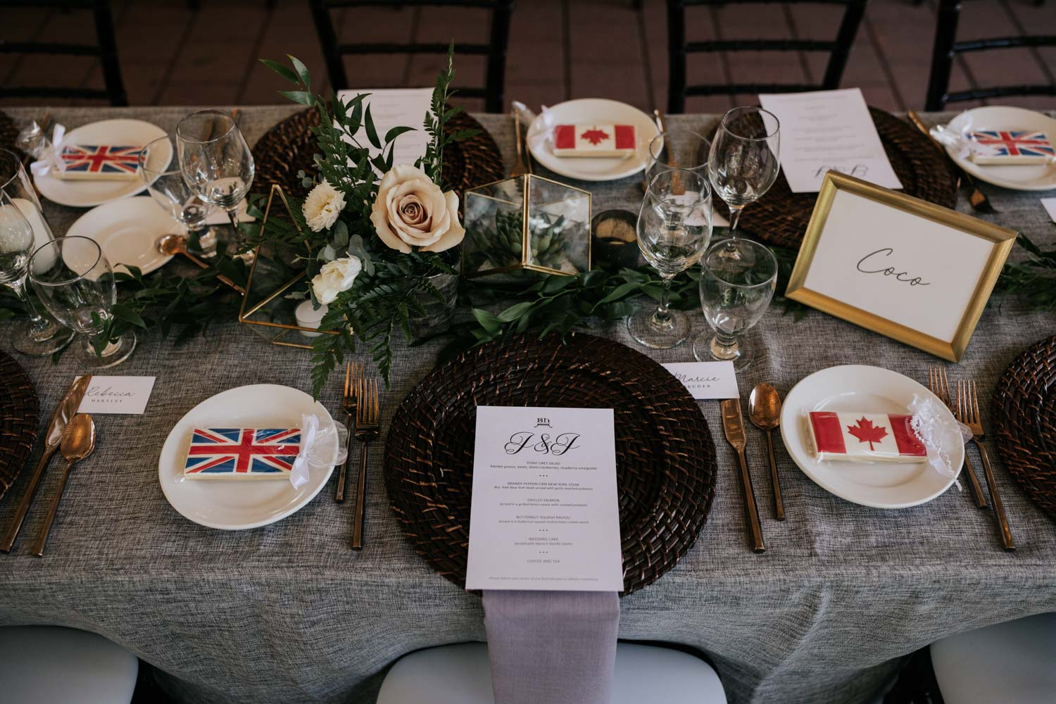 Country flag cookies are a great wedding favour idea for a couple getting from different nationalities such as Union Jack and Canadian flag cookies