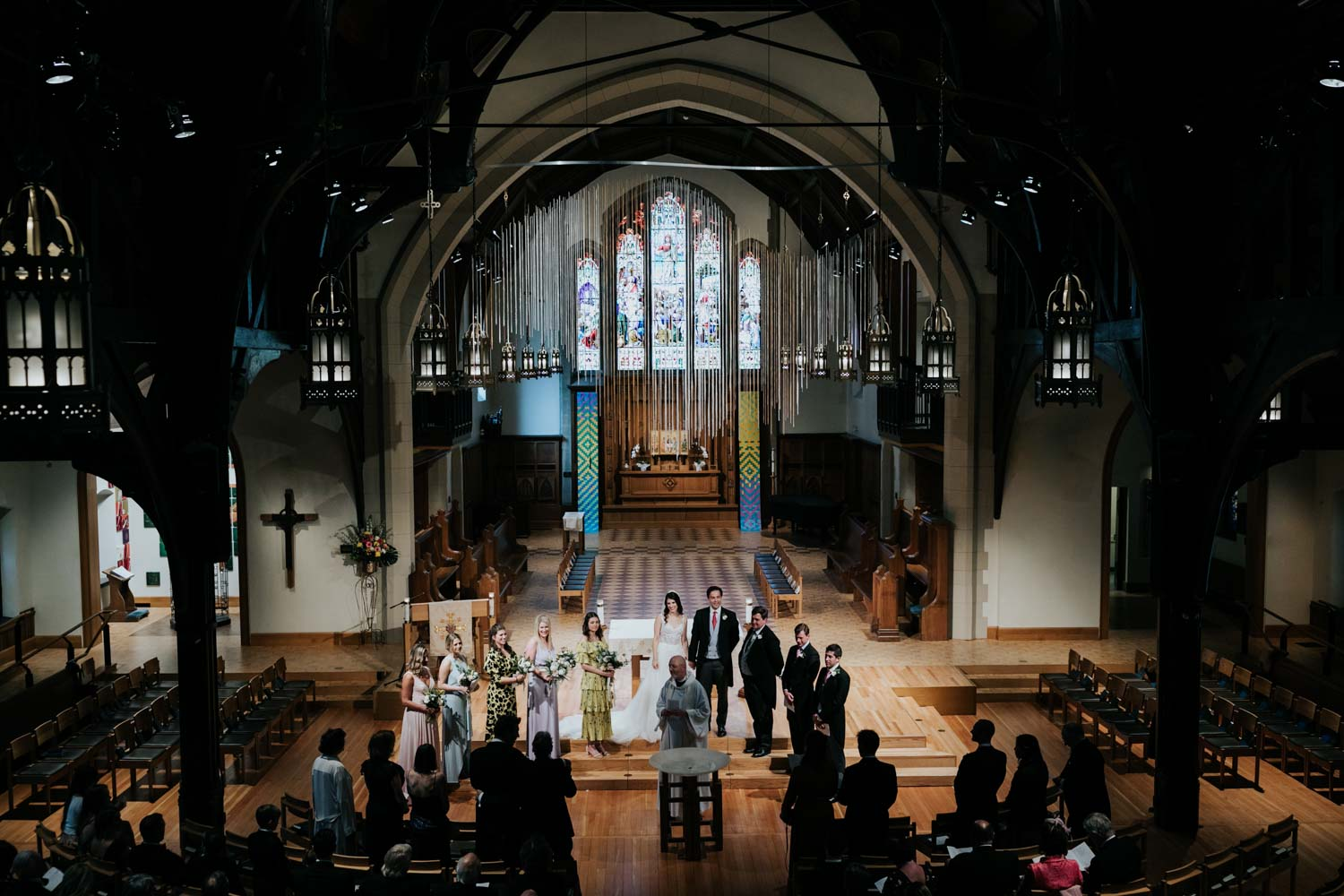 View from the organ balcony down on wedding precession at Christ Church Cathedral in Vancouver