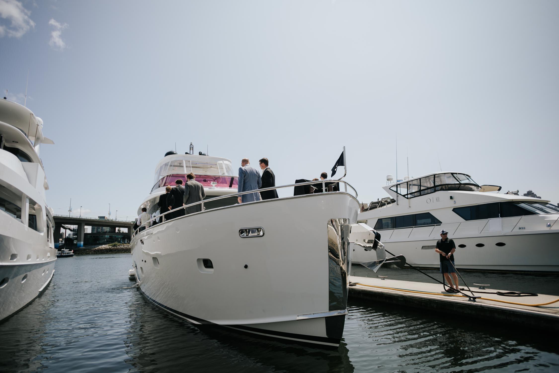 Groom gets ready on a yacht
