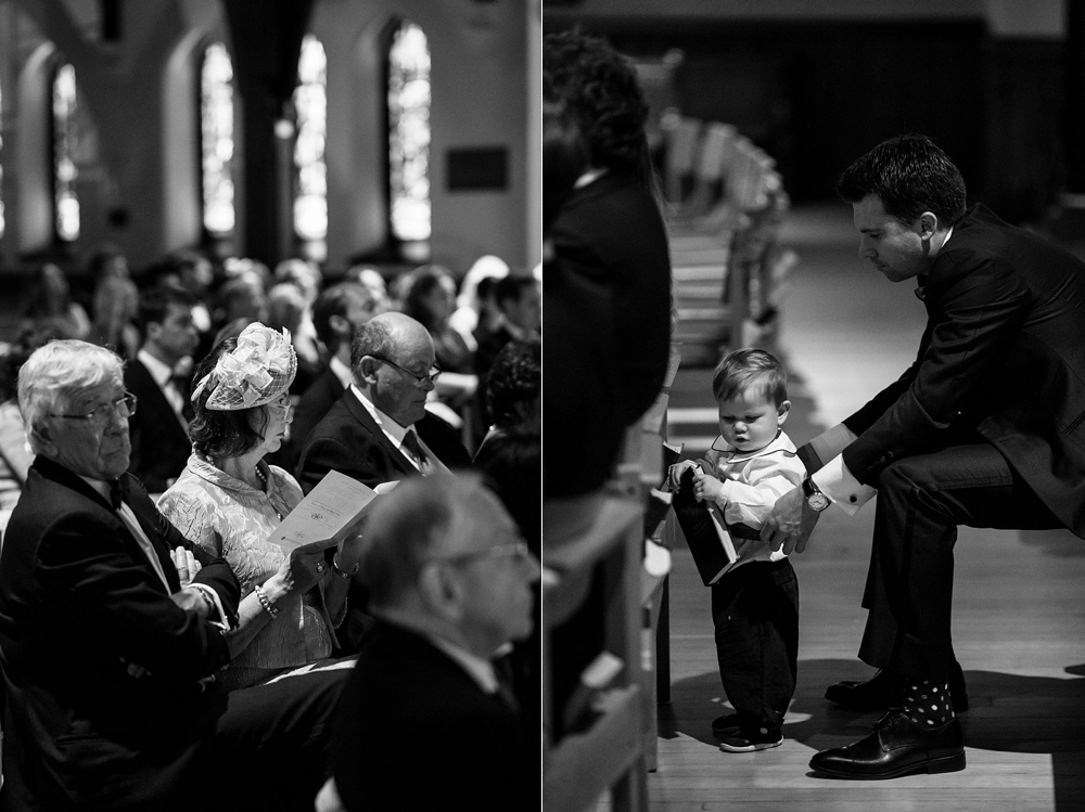 Candid black and white photos guests in Christ Church Cathedral before wedding ceremony