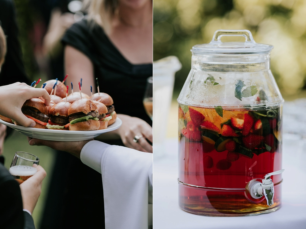 Mini burgers and punch are cool and different ideas for cocktail hour wedding snacks