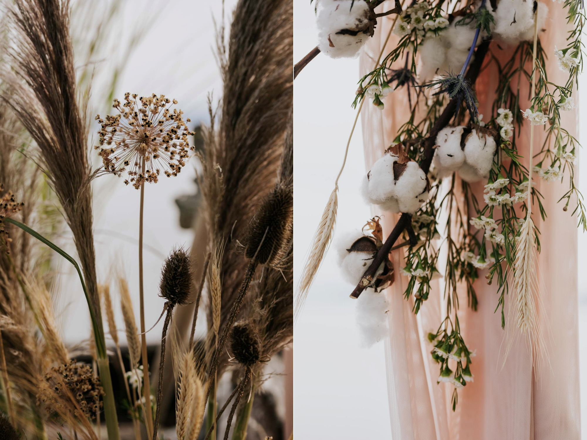 Boho dusty pink fabric, raw cotton stems, pampas grass and dried flowers on wooden wedding ceremony arch