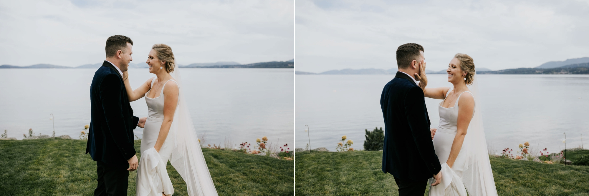 Candid emotional moment of bride wiping away groom's tears after wedding ceremony at the sea in Victoria on Vancouver Island