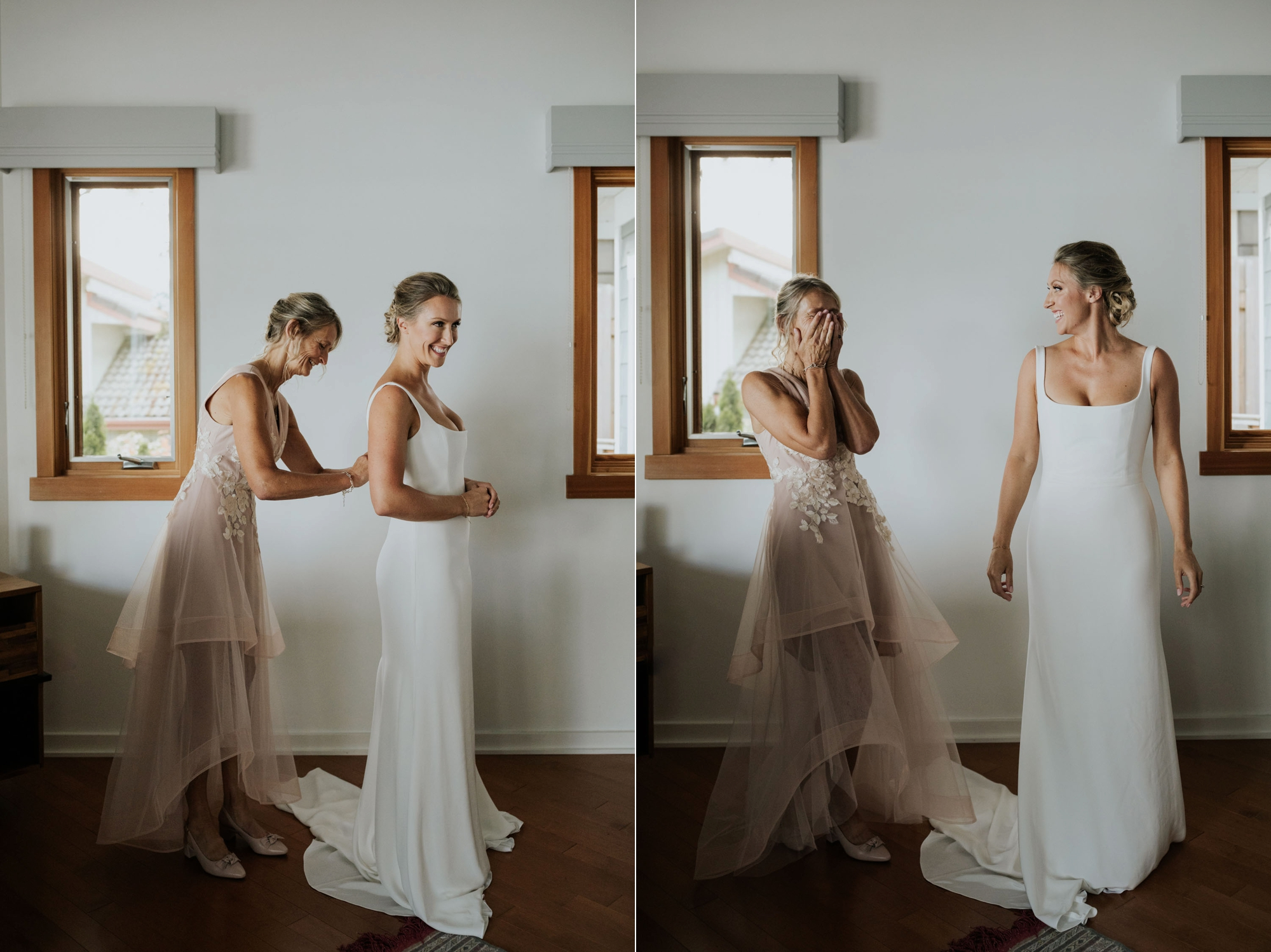 Mother of bride helps beautiful blonde natural bride put on modern white Rime Arodaky wedding dress