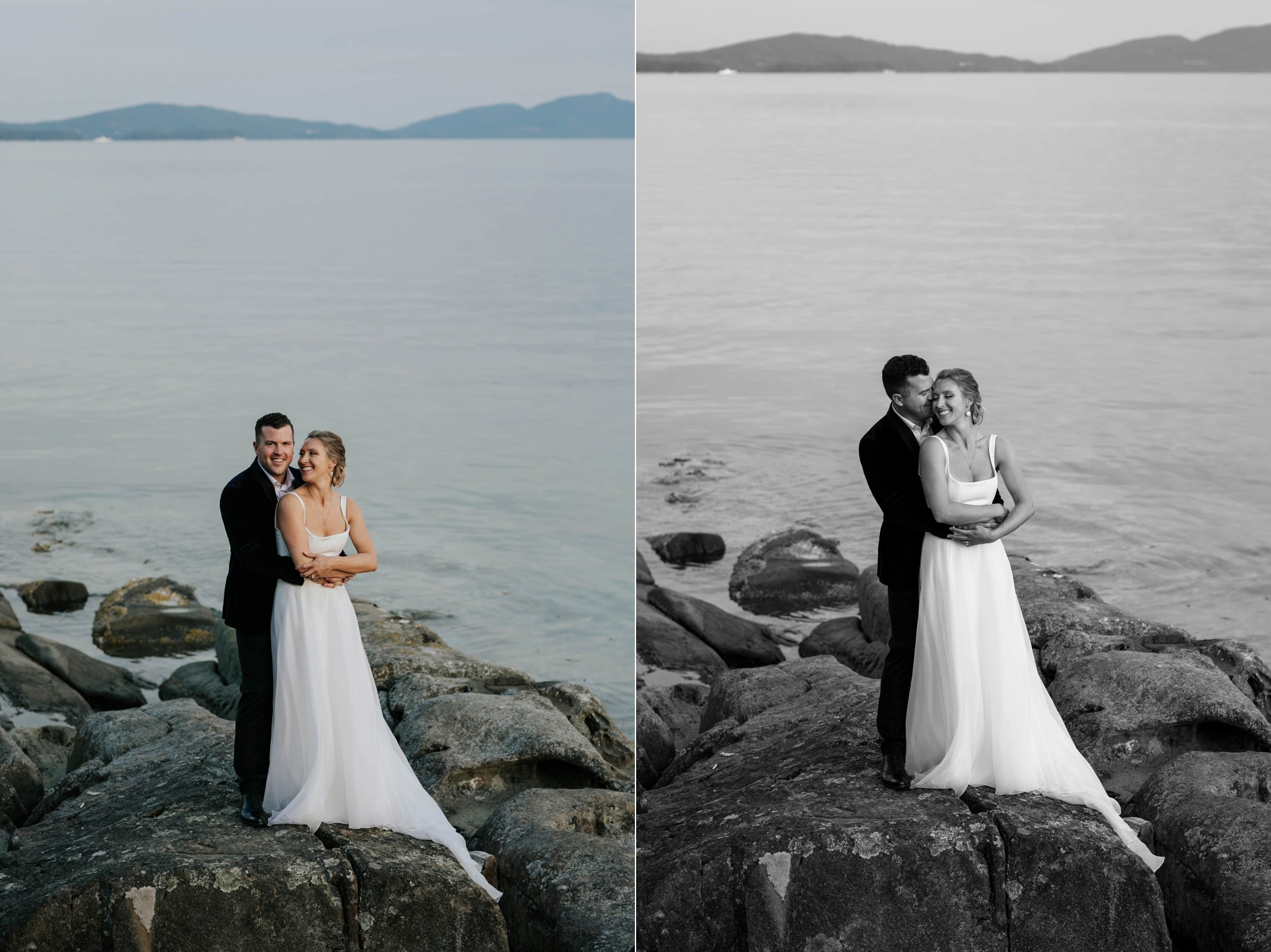 Award winning Vancouver Island Wedding Photographer captures intimate beach wedding on Vancouver Island at beautiful venue and location with sea and mountain views