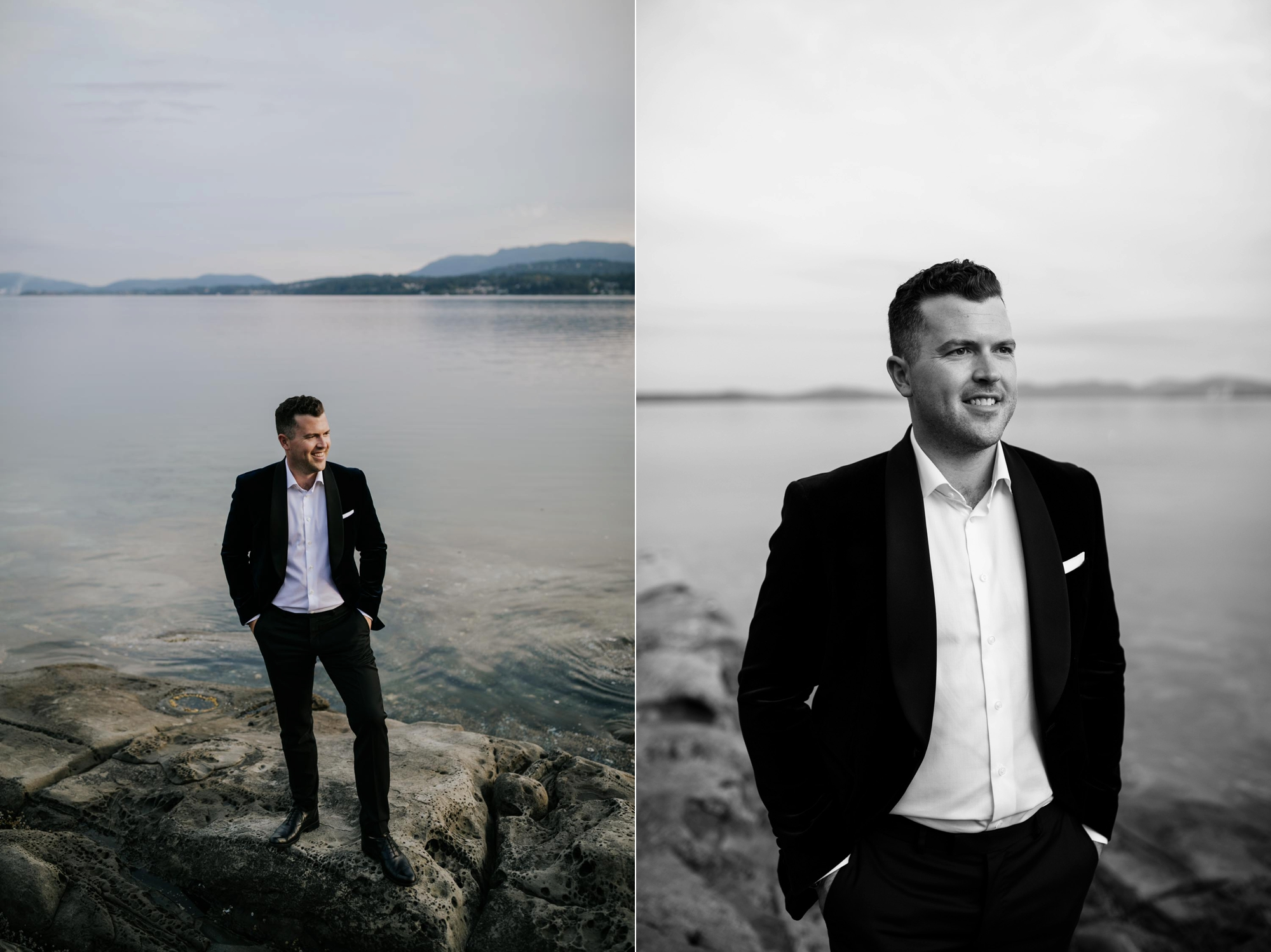 Groom portraits on Vancouver Island at beach