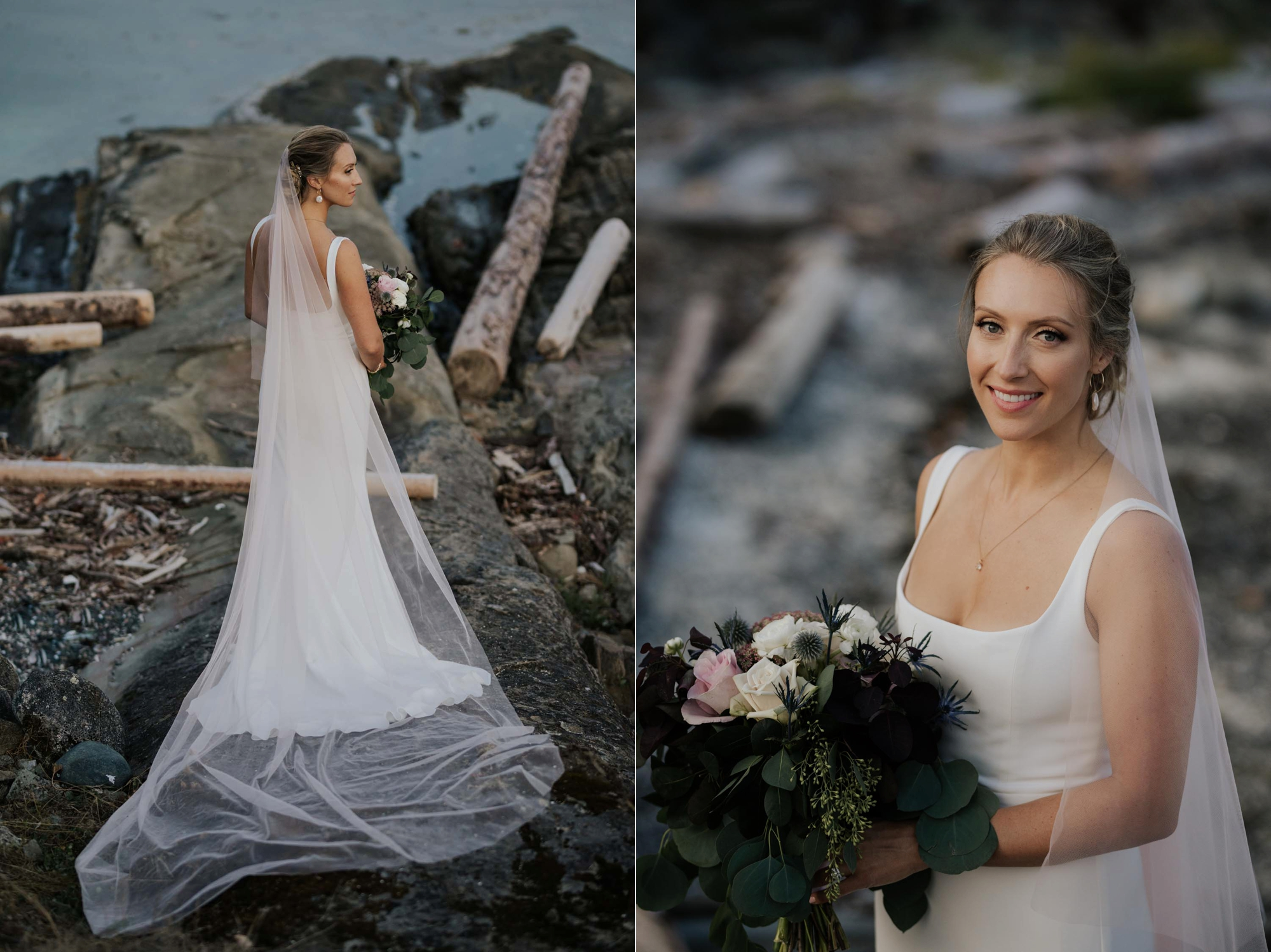 Rime Arodaky modern wedding dress with subtle pink veil