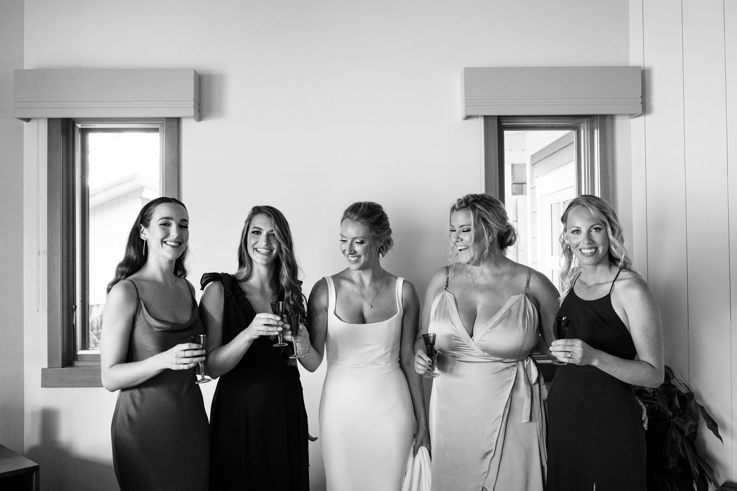 Bride tribe tequila shot before wedding ceremony