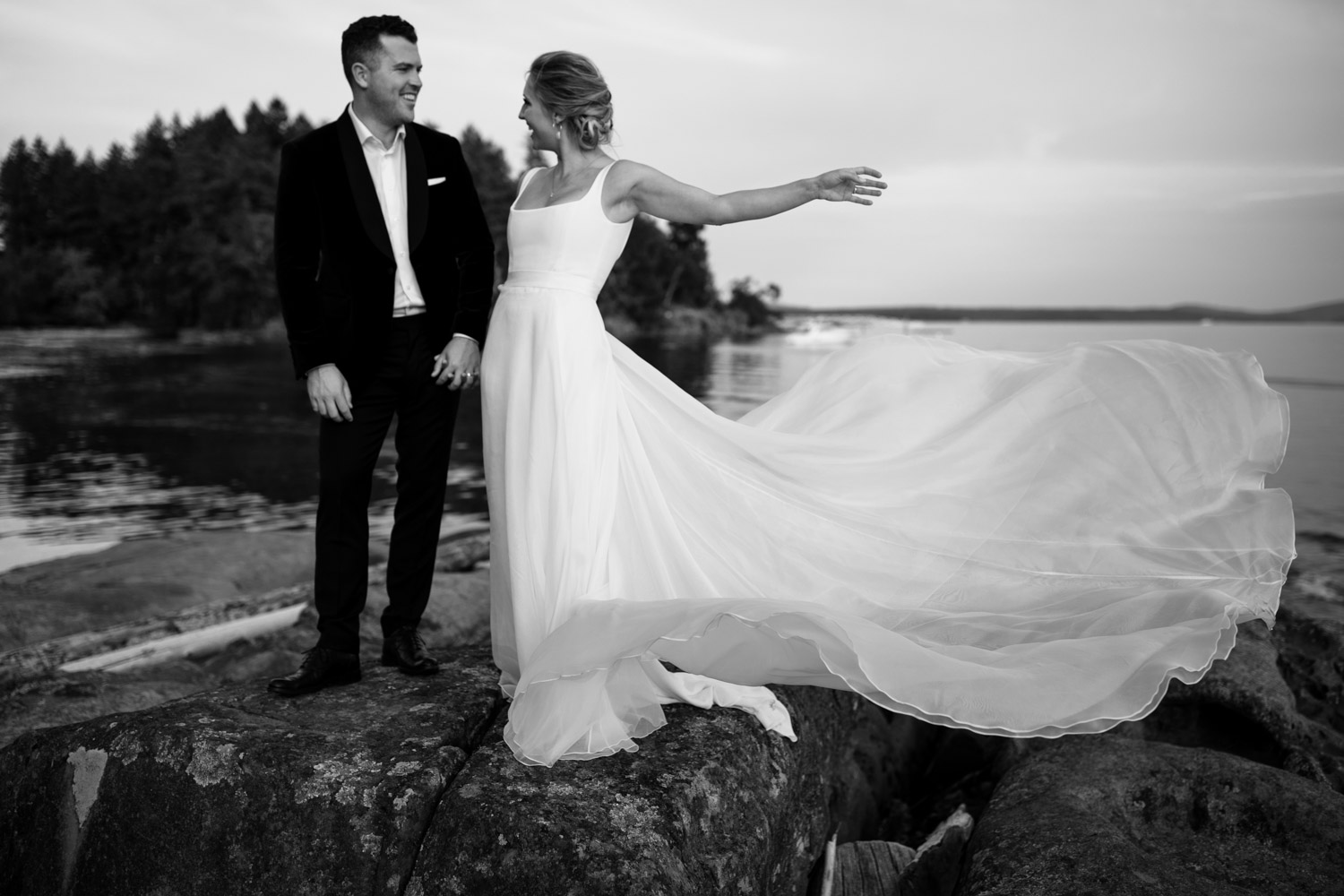 Candid Vancouver Island Wedding Photographer captures intimate beach wedding on Vancouver Island at beautiful venue and location with sea and mountain views