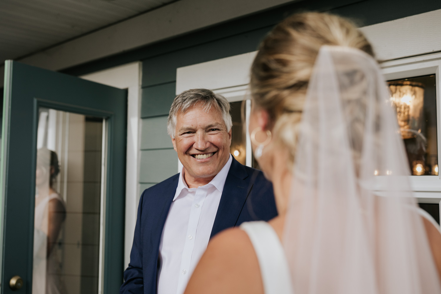 Emotional wedding moment when dad sees his daughter in her wedding dress for the very first time