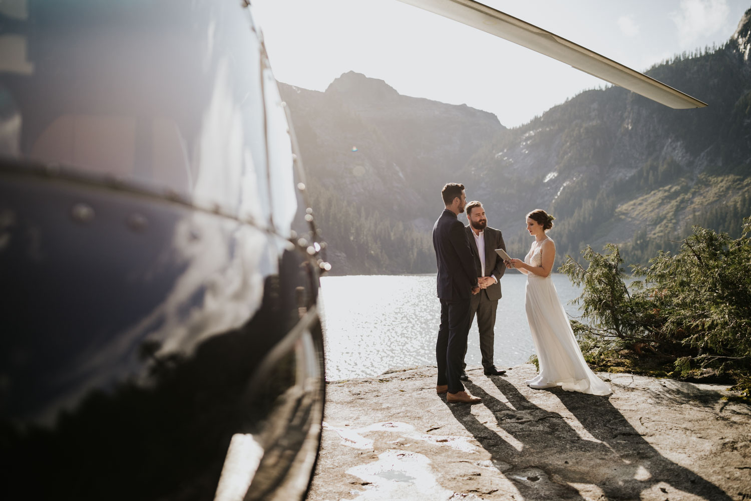 Sky helicopter elopement ceremony location in the secluded Vancouver BC mountains at Widgeon Peak and lake