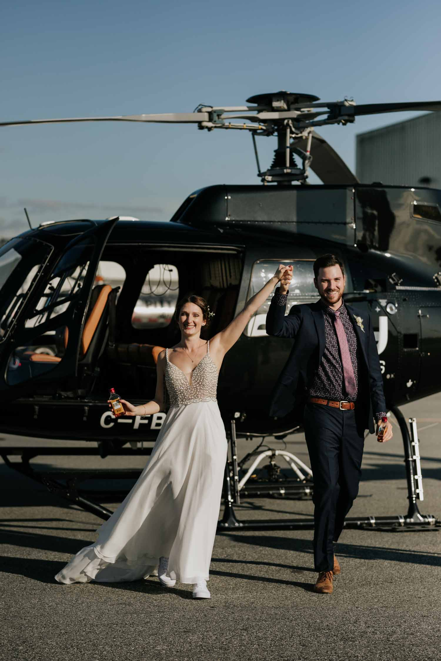 Just married a Sky Helicopter elopement in Vancouver BC