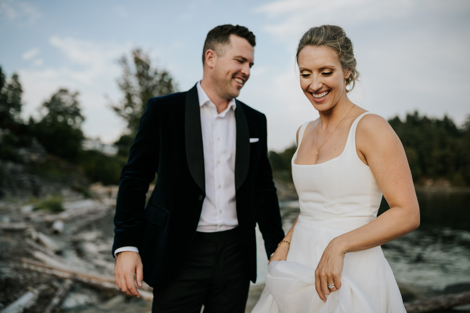 Photojournalistic Vancouver Island Wedding Photographer captures intimate beach wedding on Vancouver Island at beautiful venue and location with sea and mountain views