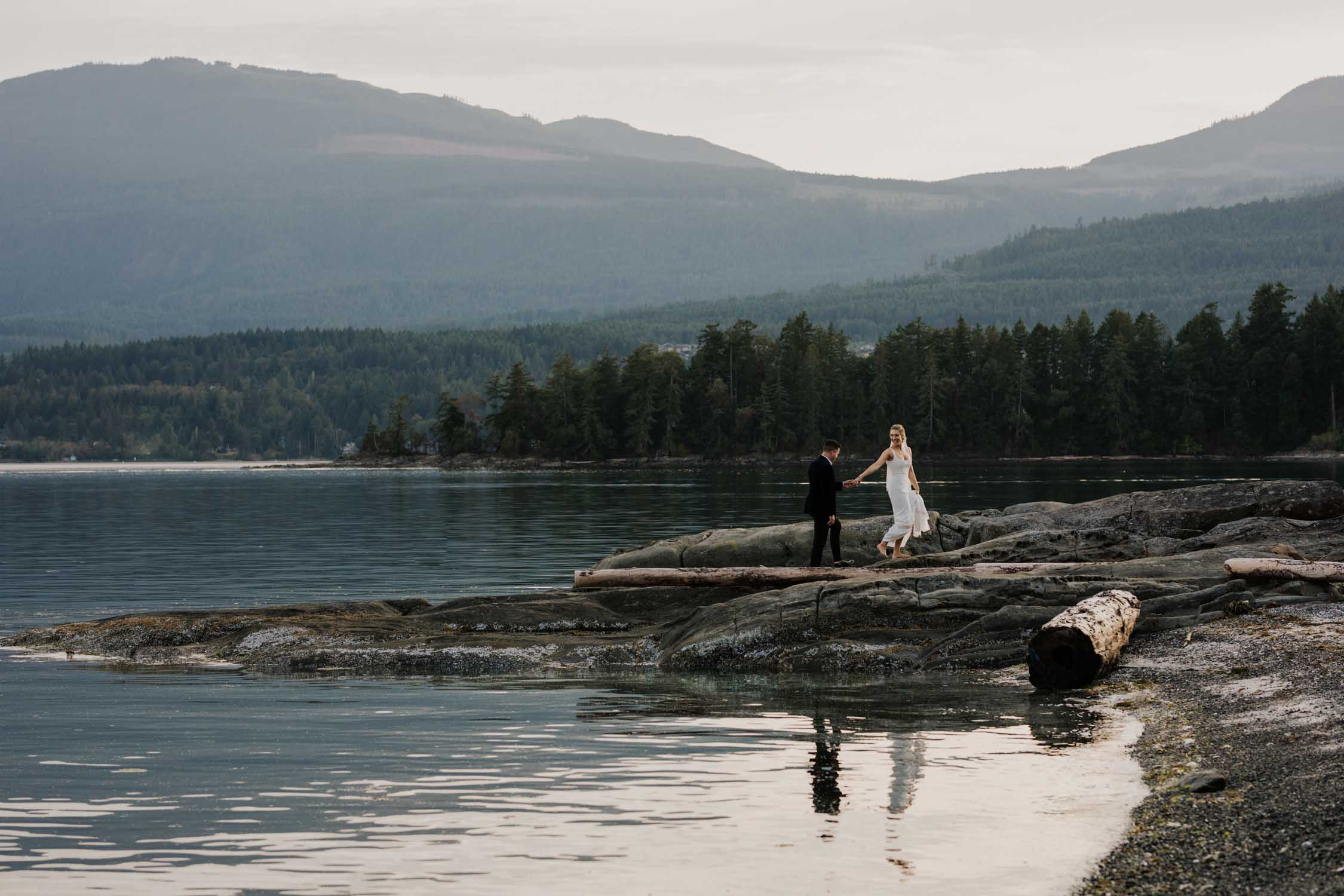 Artistic Vancouver Island Wedding Photographer captures intimate beach wedding on Vancouver Island at beautiful venue and location with sea and mountain views