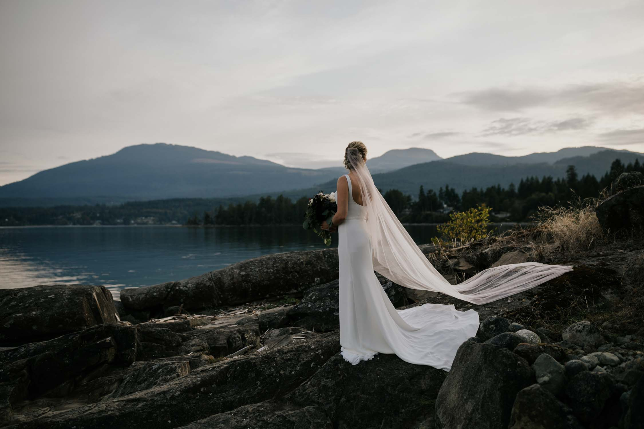 Alternative Vancouver Island Wedding Photographer captures intimate beach wedding on Vancouver Island at beautiful venue and location with sea and mountain views