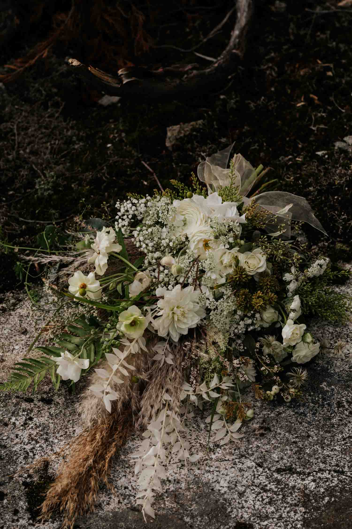 Wild fresh and dried flower wedding bouquet by alternative Vancouver florist The Wild Bunch