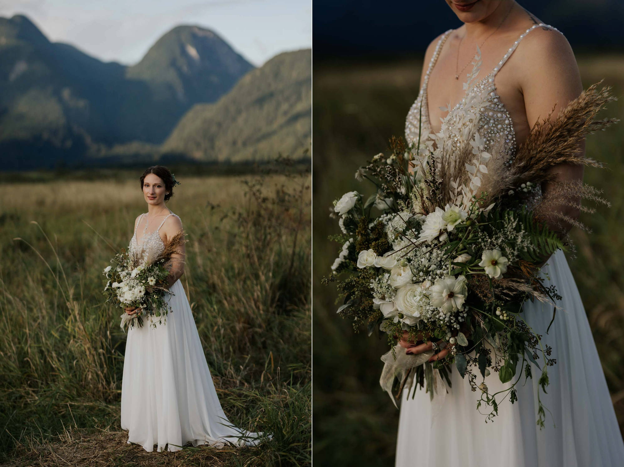 The Wild Bunch Vancouver Wedding Florist fresh and dried neutral wedding bouquet