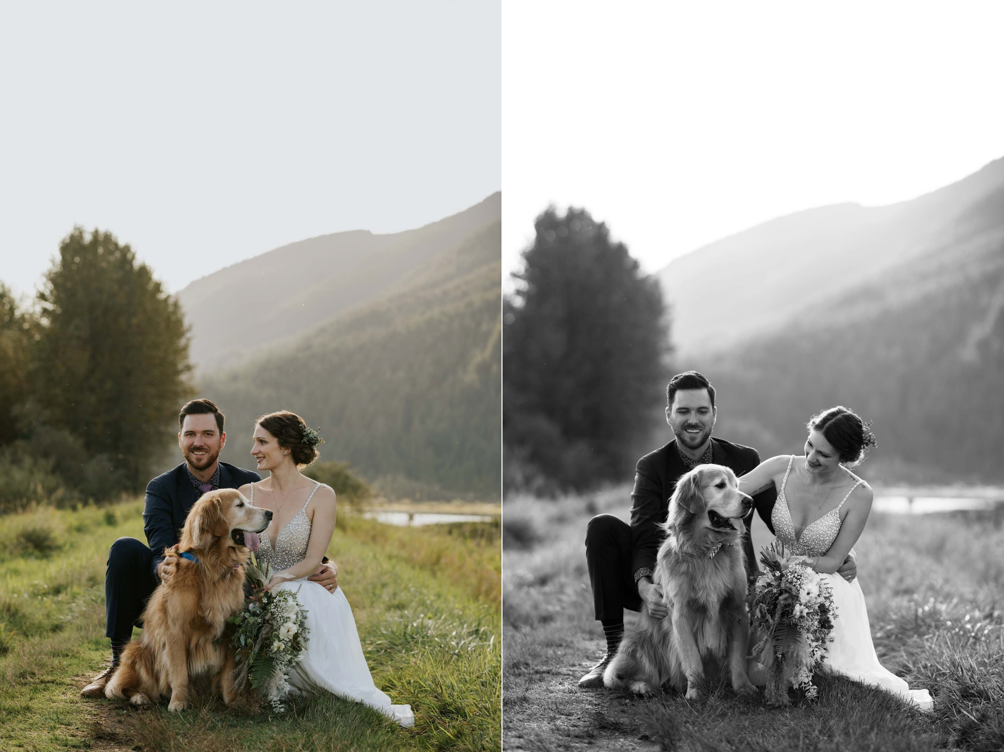 Cute, amazing bride and groom wedding portraits with their dog