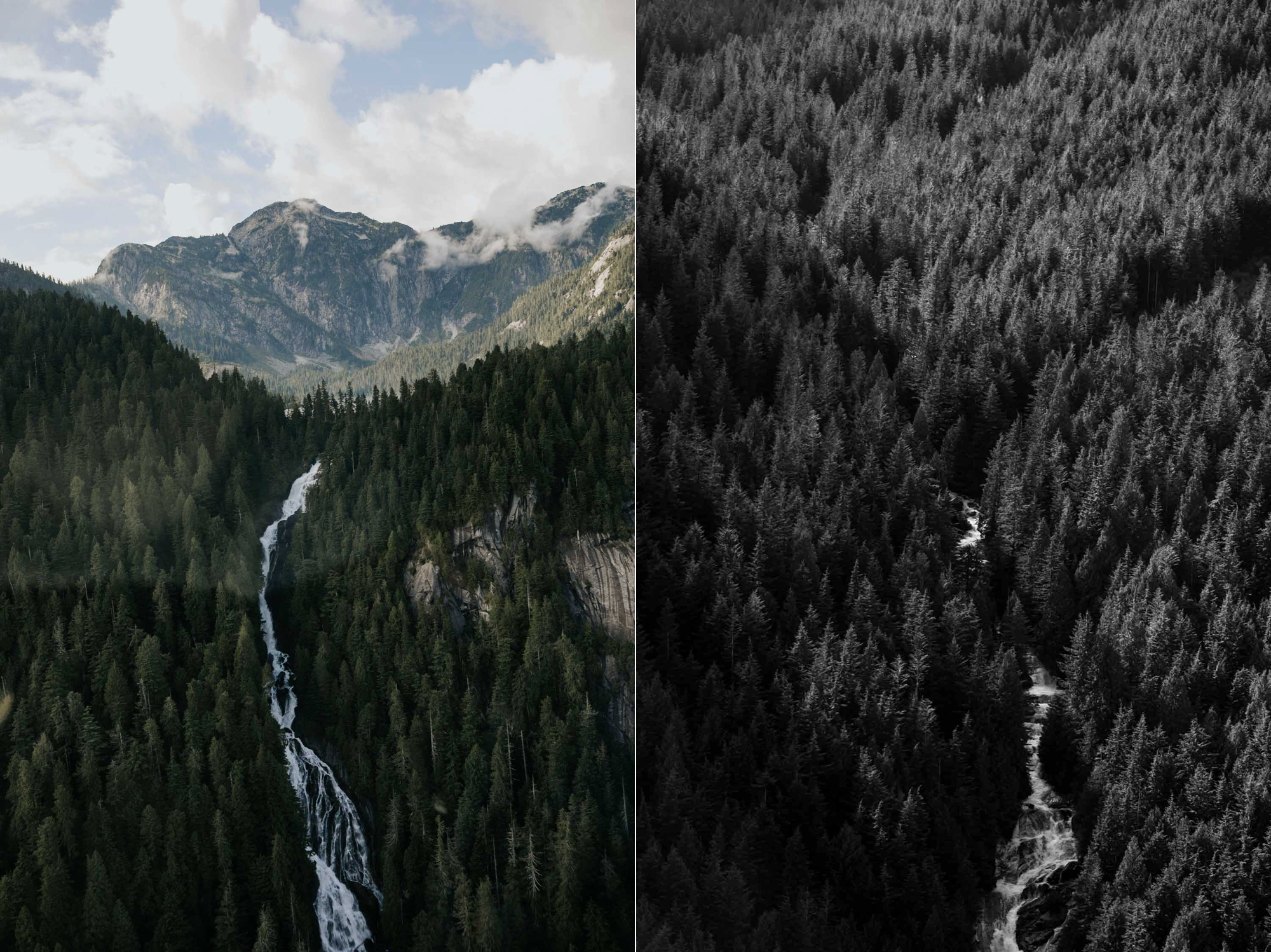 Incredible breathtaking views of mountains, forests, peaks and waterfalls taken from SKY helicopter elopement ride