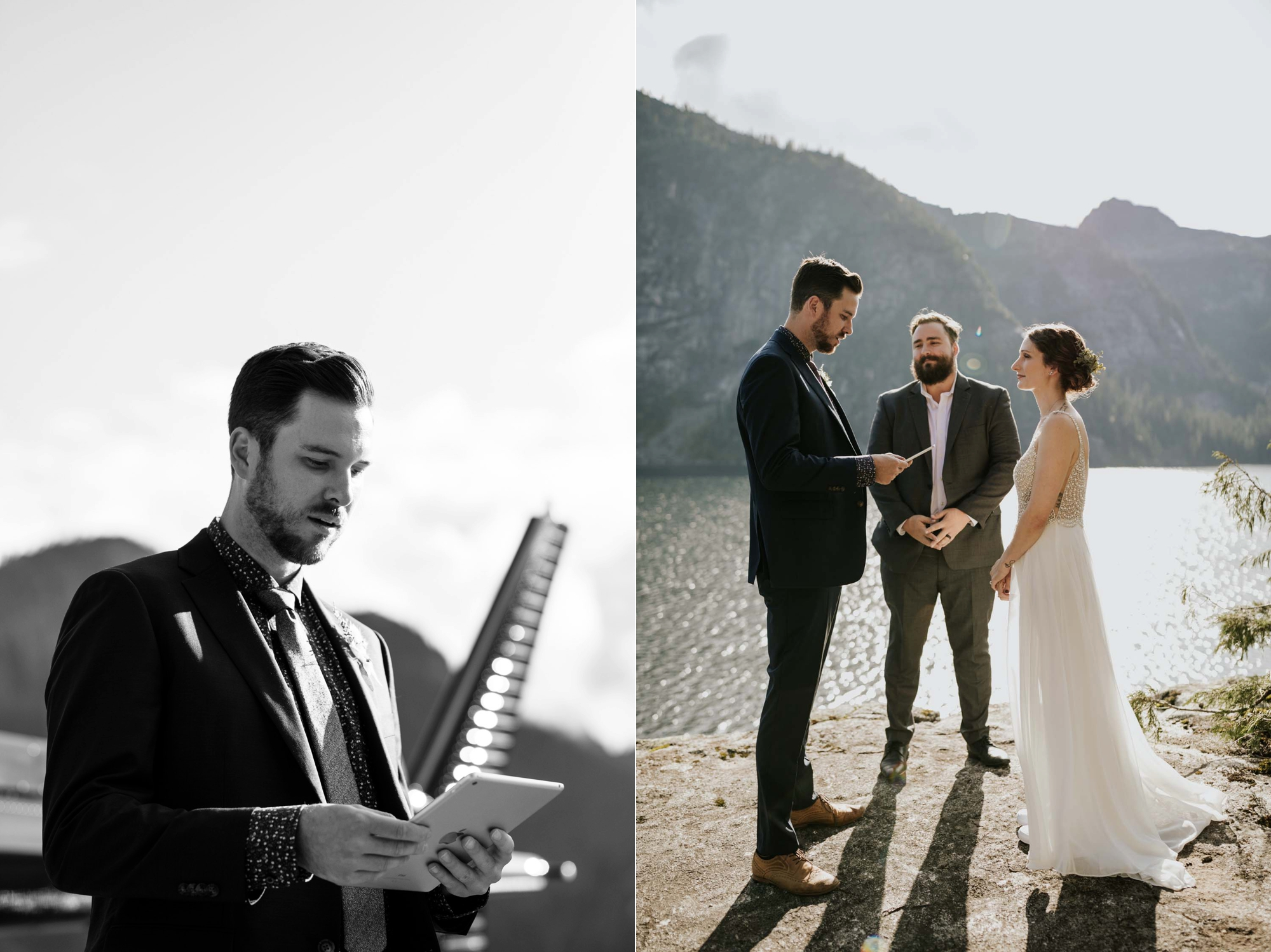 Sky helicopter elopement ceremony location in the secluded Vancouver BC mountains at Widgeon Peak and lake near Whistler