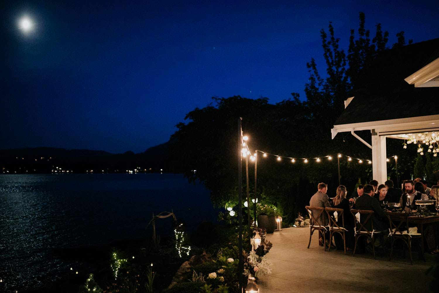 Small intimate wedding on Vancouver Island Reception location and venue with incredible sunset views